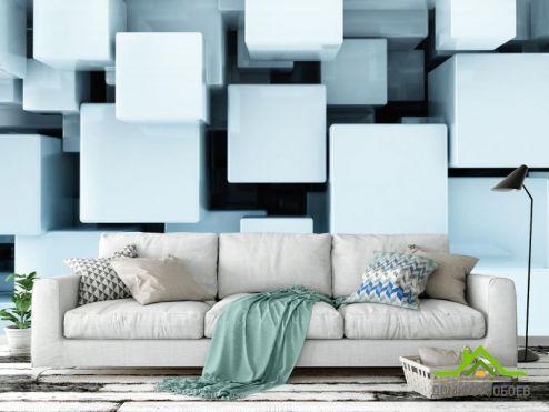 обои 3D объемные  Фотообои Белые кубы в воздухе 3Д