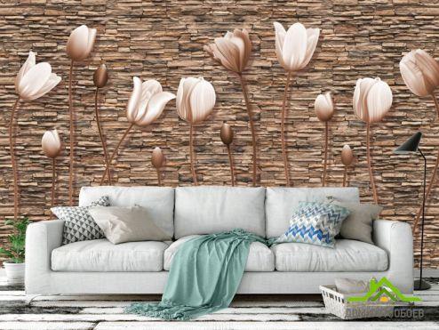обои 3D барельеф Фотообои Тюльпаны на каменном фоне