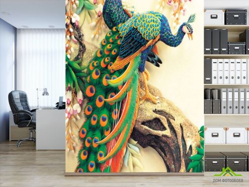 обои Восточный стиль Фотообои Керамические павлины