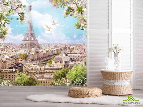 обои Париж Фотообои голуби и Париж