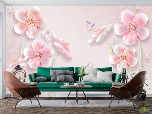 3Д  Фотообои Розовая стереоскопическая сакура