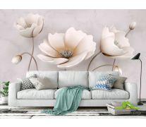 Фотообои Стереоскопические бежевые цветы