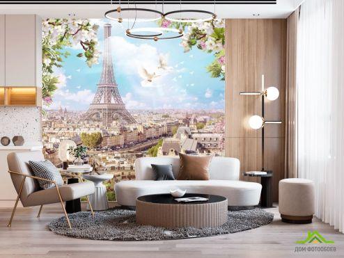 Париж Фотообои голуби и Париж