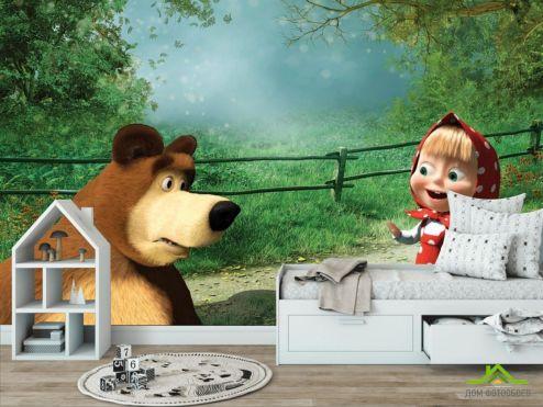 обои в детскую Фотообои Маша и медведь