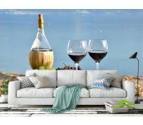 Фотообои красное вино на берегу