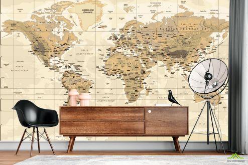Карта Фотообои Коричневая карта мира