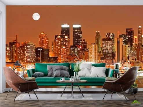 Нью Йорк Фотообои Луна, ночь, New York