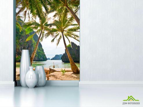 Пляж Фотообои Столик и пальмы