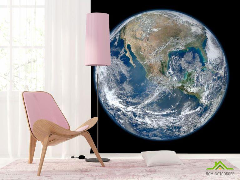 Фотообои планета Земля на черном фоне