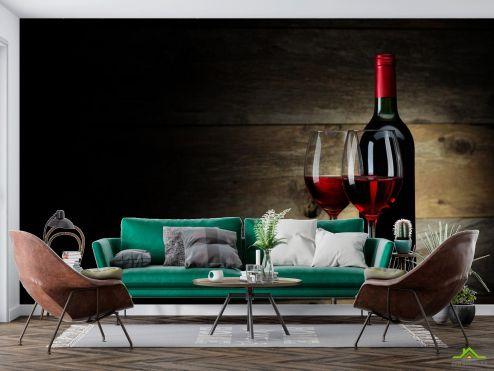 Еда и напитки Фотообои красное вино в бокалах
