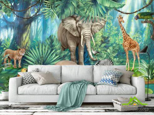 обои Животные Фотообои Яркие африканские животные
