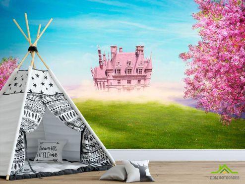 Фотообои для девочек по выгодной цене Фотообои Розовый замок
