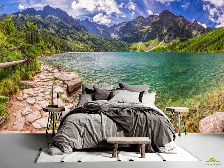 Фотообои камни, горы и озеро