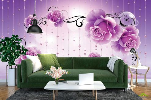 3Д  Фотообои Фиолетовые 3d цветы