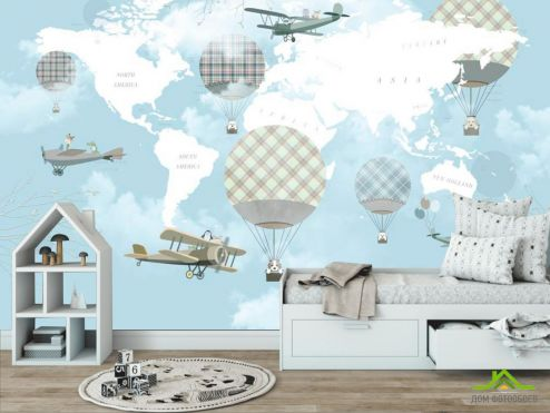 Голубые  Фотообои Воздушные шары