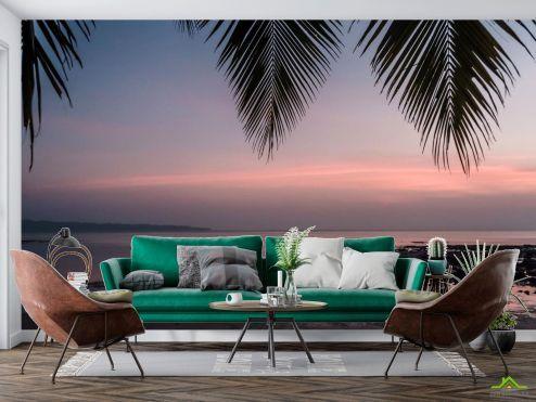 Природа Фотообои закат под пальмой