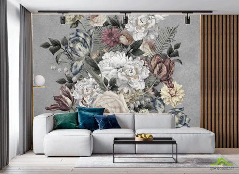 в гостиную Фотообои Винтажные цветы на сером
