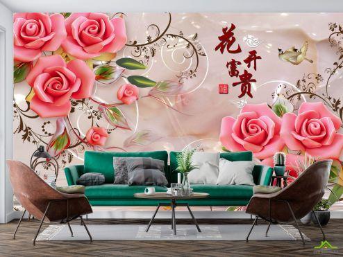 Фотообои 3д розы и шары купить