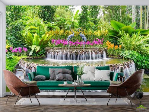 Фотообои Природа по выгодной цене Фотообои фонтан с цаплями