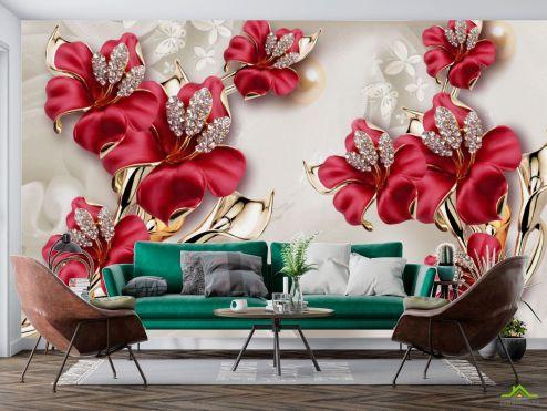 3Д  Фотообои Бордовые цветы 3Д