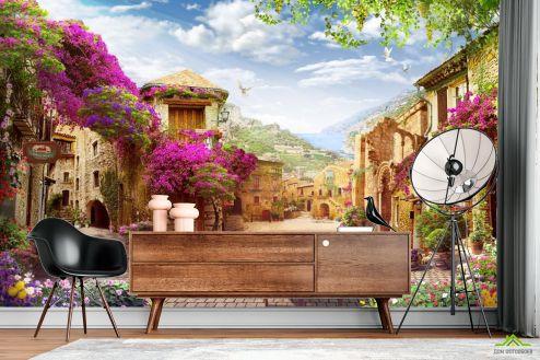 Пейзаж Фотообои Цветочный дворик