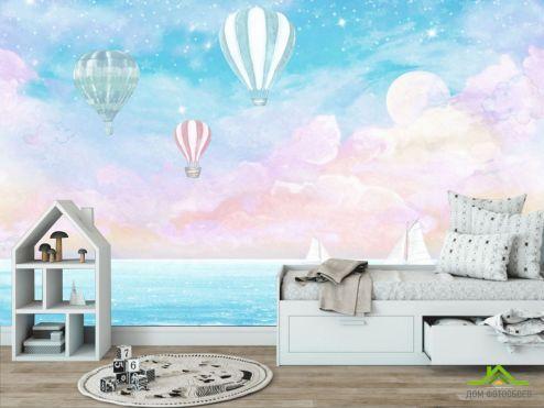обои в детскую Фотообои Воздушные шары на голубом фоне