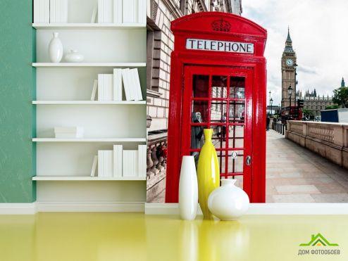Красные обои Фотообои Телефонная будка, Лондон