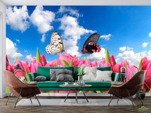 Тюльпаны Фотообои Бабочки и розовые тюльпаны купить
