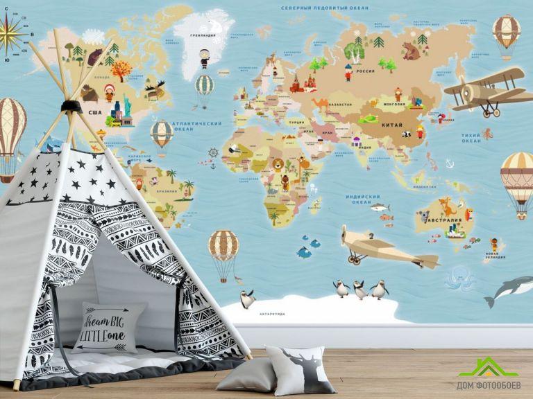 Фотообои Детская карта на русском