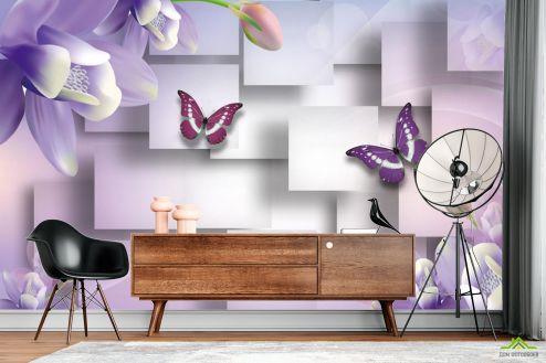 Фиолетовые  Фотообои Цветы с бабочками