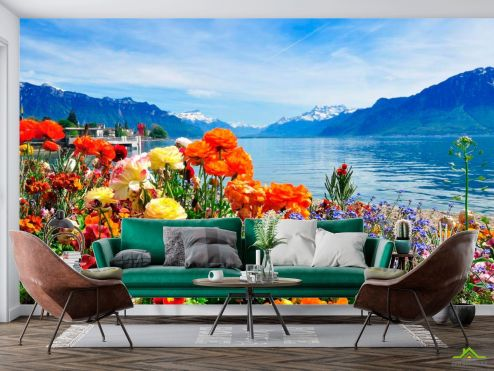 Природа Фотообои Море цветов, горы