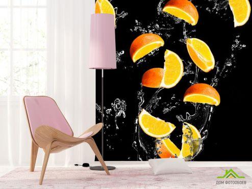 Еда и напитки Фотообои апельсинкаи на чёрном фоне