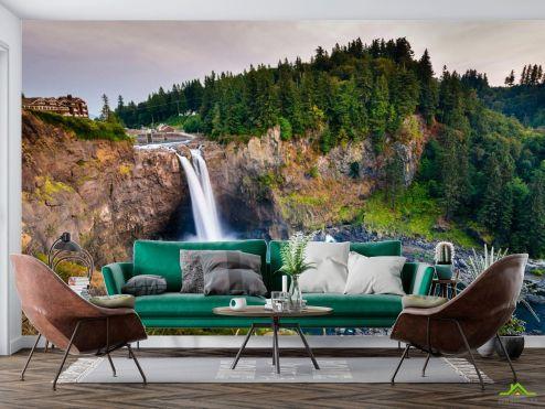Природа Фотообои водопад в горах в лесу