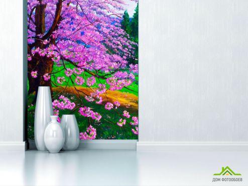Фиолетовые обои Фотообои Цветущая сакура