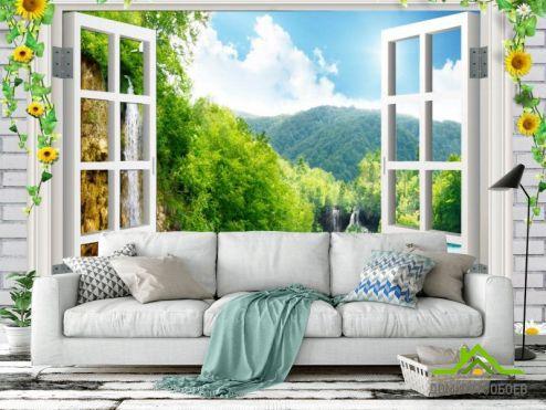 Вид из окна Фотообои Водопад за окном