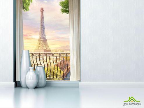 обои Париж Фотообои вид на Эйфелеву башню с балкона