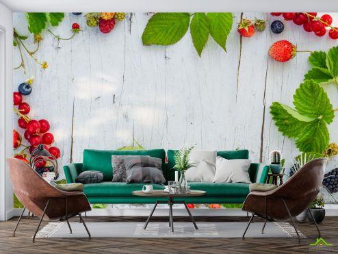 Еда и напитки Фотообои ягоды на деревянном фоне