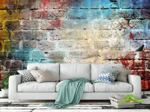 Обои под кирпич Фотообои Разноцветная кирпичная стена