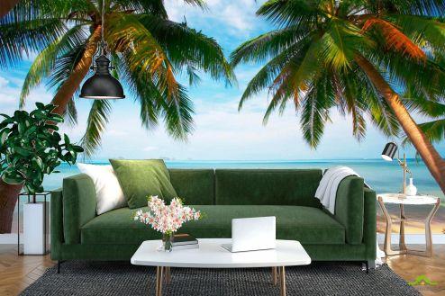 Пляж Фотообои Две пальмы, пляж