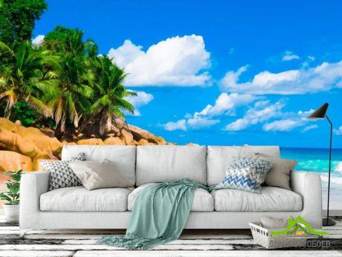 обои Море Фотообои Пляж, пальмы, солнце