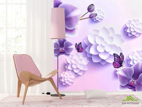 3Д обои Фиолетовые орхидеи 3Д