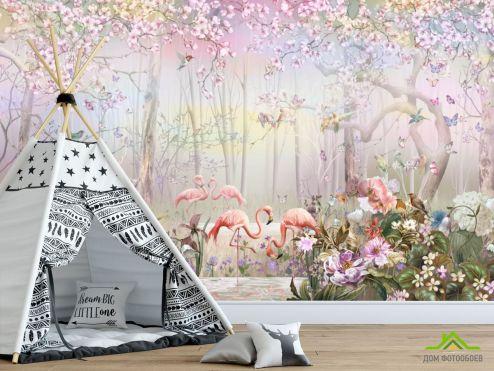 Фотообои в детскую по выгодной цене Фотообои Лес и фламинго