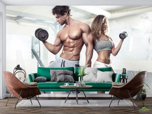 Спорт Фотообои фитнес парень и девушка