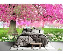 Фотообои Розовое дерево и олень