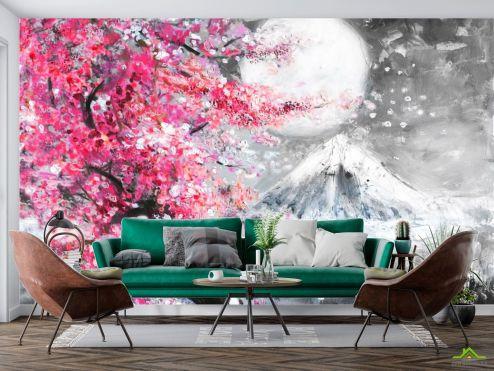 по выгодной цене Фотообои картина белая луна над розовым деревом