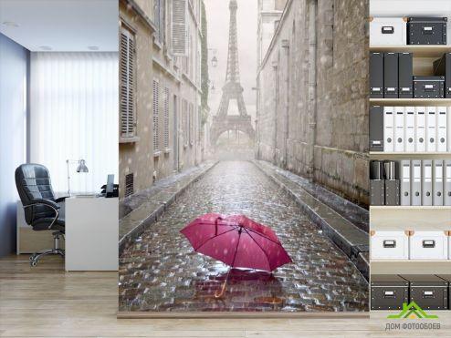 обои Париж Фотообои красный зонт под дождём в Париже