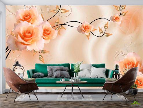 Оранжевые  Фотообои Розы