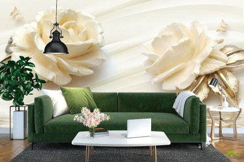 3Д барельеф Фотообои Две большых керамических розы