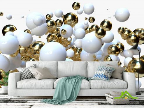3Д  Фотообои Бело-золотые 3д шары