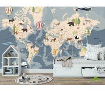 Фотообои Карта с животными